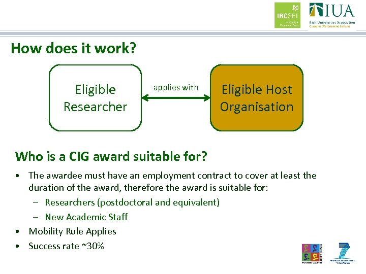 How does it work? Eligible Researcher applies with Eligible Host Organisation Who is a