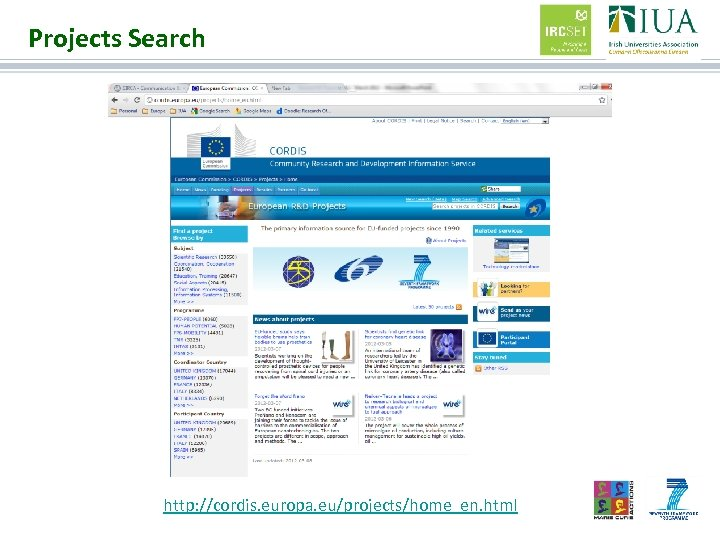 Projects Search http: //cordis. europa. eu/projects/home_en. html