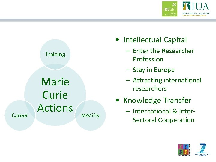 • Intellectual Capital – Enter the Researcher Profession – Stay in Europe –