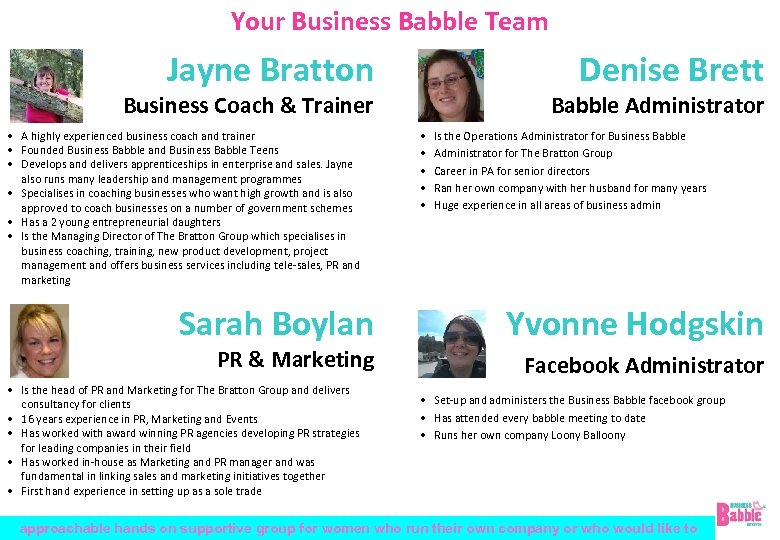 Your Business Babble Team Jayne Bratton Denise Brett Business Coach & Trainer • A
