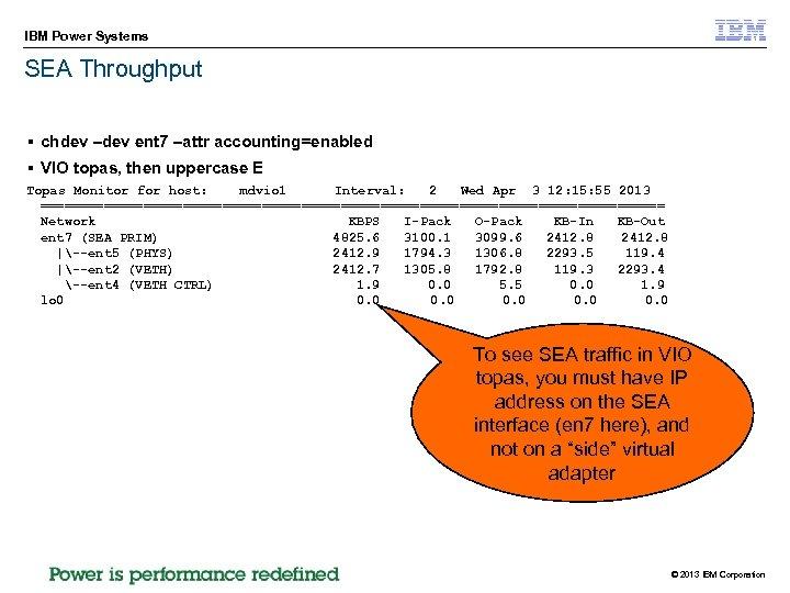 IBM Power Systems SEA Throughput § chdev –dev ent 7 –attr accounting=enabled § VIO