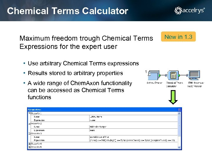 Chemical Terms Calculator Maximum freedom trough Chemical Terms Expressions for the expert user •