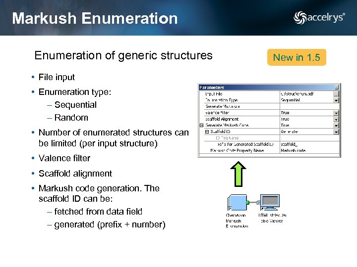 Markush Enumeration of generic structures • File input • Enumeration type: – Sequential –