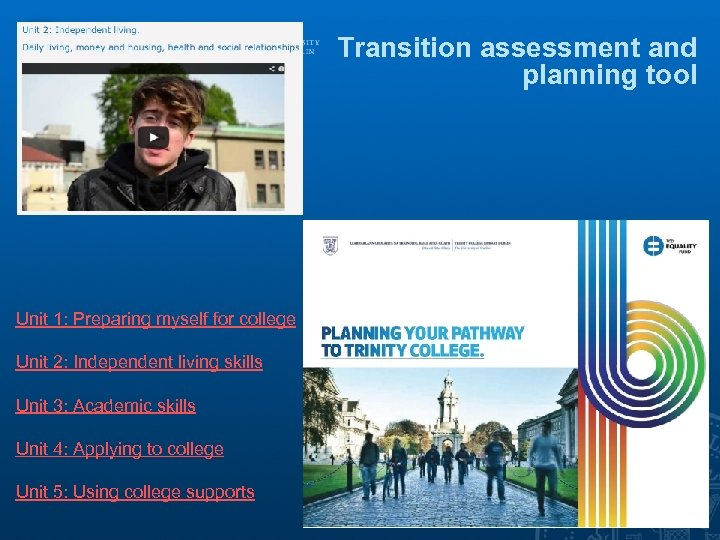 Transition assessment and planning tool Unit 1: Preparing myself for college Unit 2: Independent