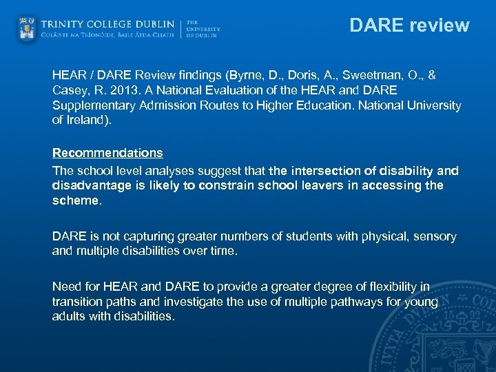 DARE review HEAR / DARE Review findings (Byrne, D. , Doris, A. , Sweetman,