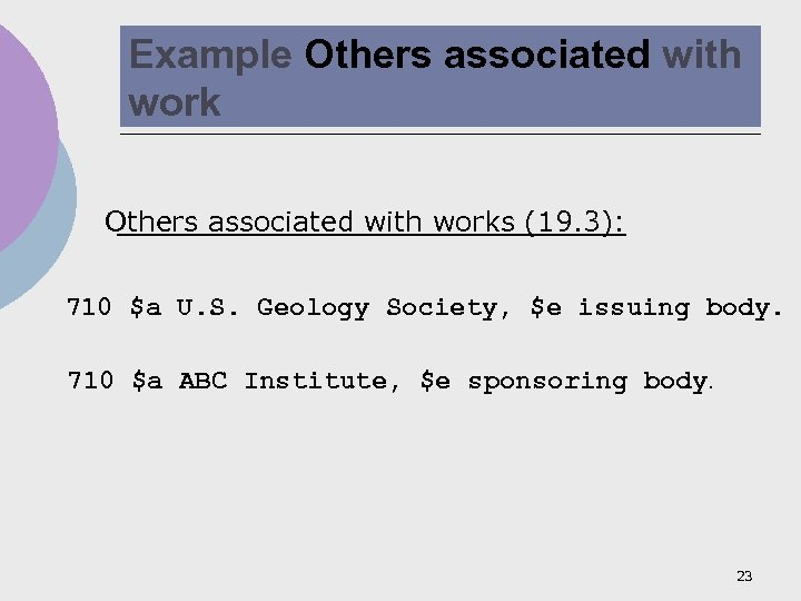Example Others associated with works (19. 3): 710 $a U. S. Geology Society, $e