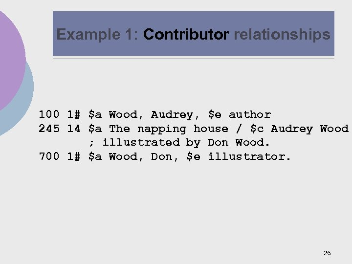 Example 1: Contributor relationships 100 1# $a Wood, Audrey, $e author 245 14 $a