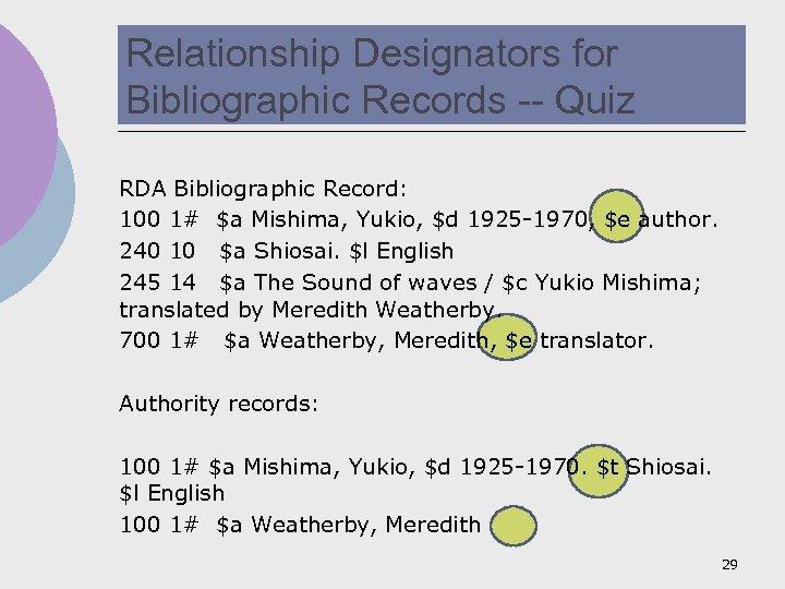 Relationship Designators for Bibliographic Records -- Quiz RDA Bibliographic Record: 100 1# $a Mishima,