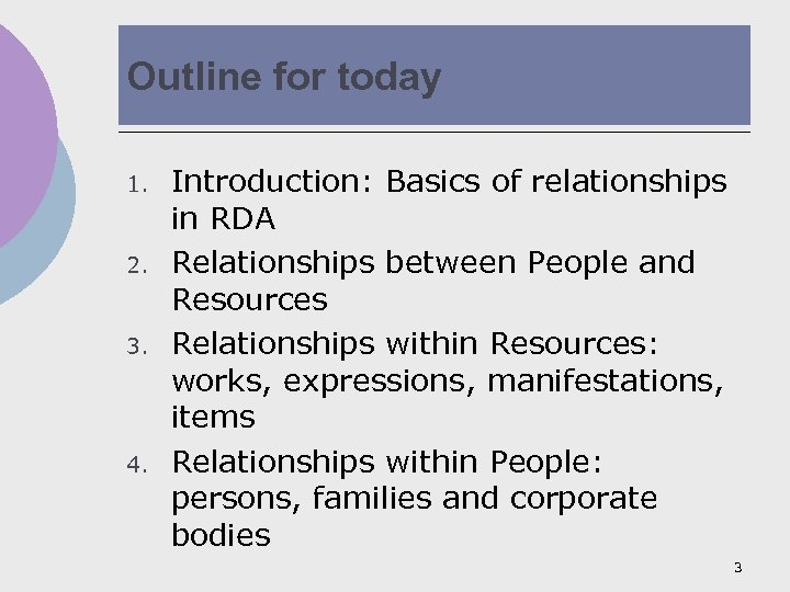 Outline for today 1. 2. 3. 4. Introduction: Basics of relationships in RDA Relationships