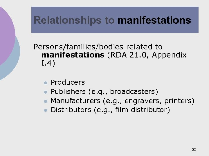 Relationships to manifestations Persons/families/bodies related to manifestations (RDA 21. 0, Appendix I. 4) l