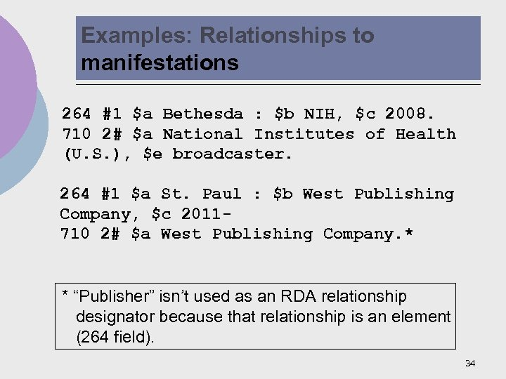 Examples: Relationships to manifestations 264 #1 $a Bethesda : $b NIH, $c 2008. 710