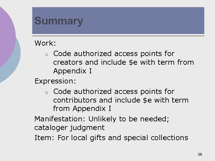 Summary Work: o Code authorized access points for creators and include $e with term