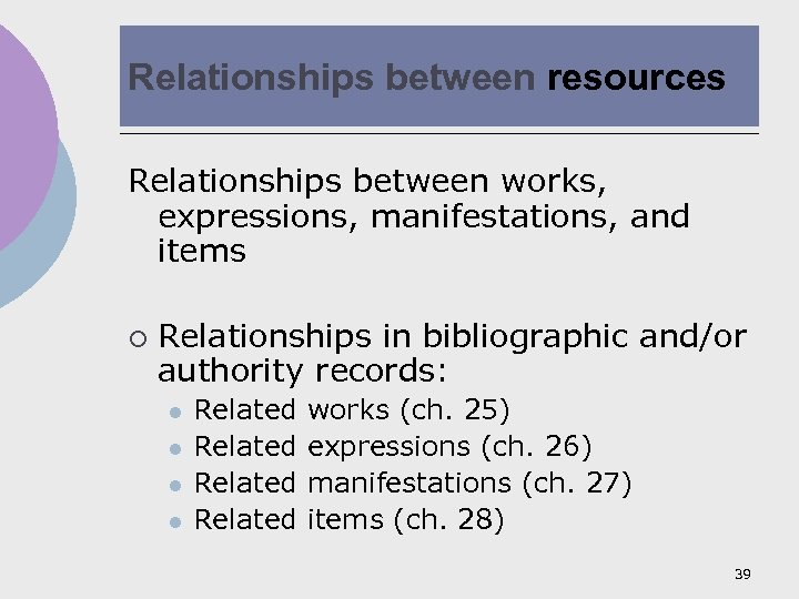 Relationships between resources Relationships between works, expressions, manifestations, and items ¡ Relationships in bibliographic