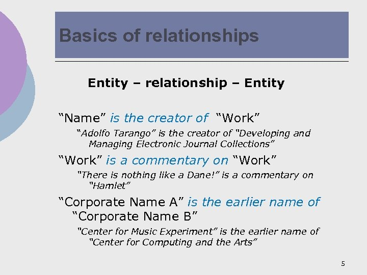 """Basics of relationships Entity – relationship – Entity """"Name"""" is the creator of """"Work"""""""