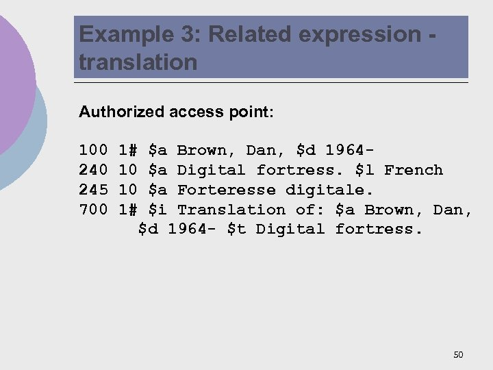 Example 3: Related expression translation Authorized access point: 100 245 700 1# 10 10