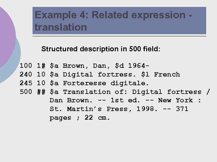 Example 4: Related expression translation Structured description in 500 field: 100 245 500 1#