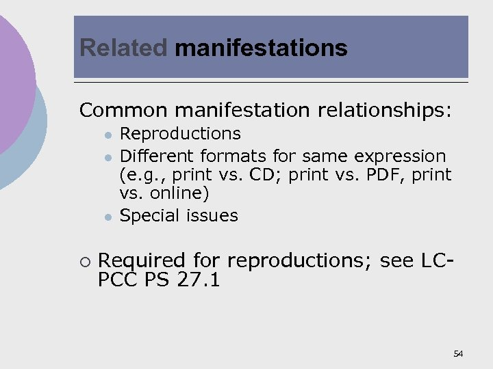 Related manifestations Common manifestation relationships: l l l ¡ Reproductions Different formats for same