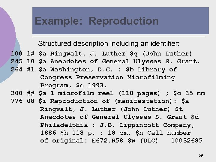 Example: Reproduction Structured description including an identifier: 100 1# $a Ringwalt, J. Luther $q