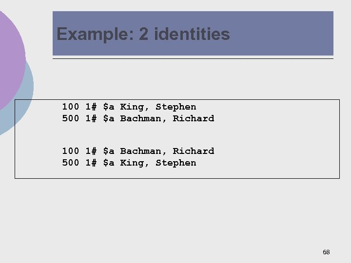 Example: 2 identities 100 1# $a King, Stephen 500 1# $a Bachman, Richard 100