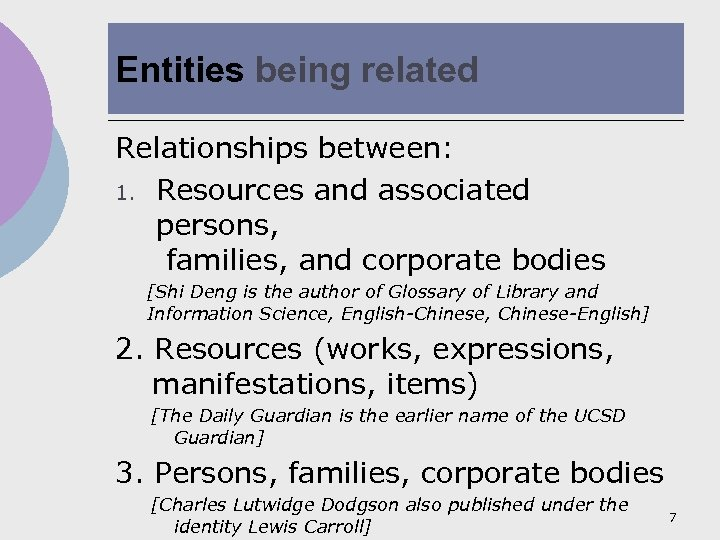 Entities being related Relationships between: 1. Resources and associated persons, families, and corporate bodies