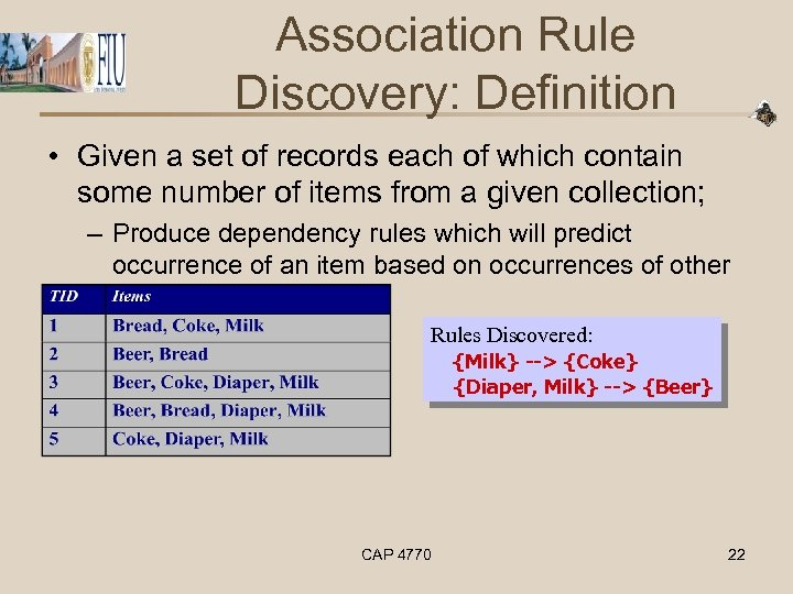 Association Rule Discovery: Definition • Given a set of records each of which contain