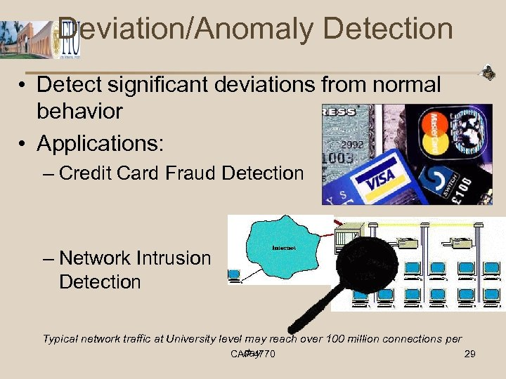 Deviation/Anomaly Detection • Detect significant deviations from normal behavior • Applications: – Credit Card