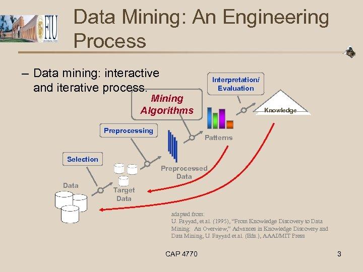 Data Mining: An Engineering Process – Data mining: interactive and iterative process. Interpretation/ Evaluation