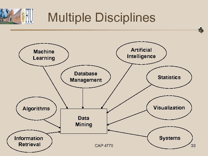 Multiple Disciplines Artificial Intelligence Machine Learning Database Management Statistics Visualization Algorithms Data Mining Information