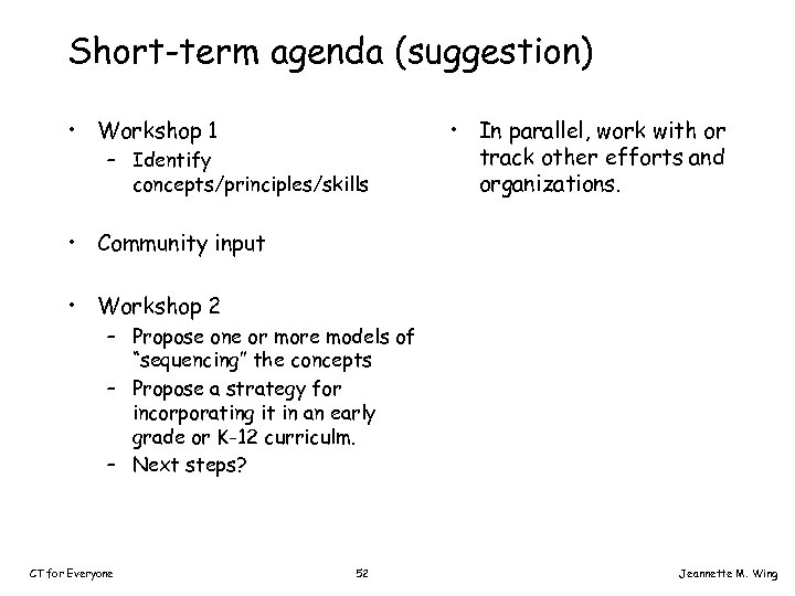 Short-term agenda (suggestion) • Workshop 1 – Identify concepts/principles/skills • In parallel, work with