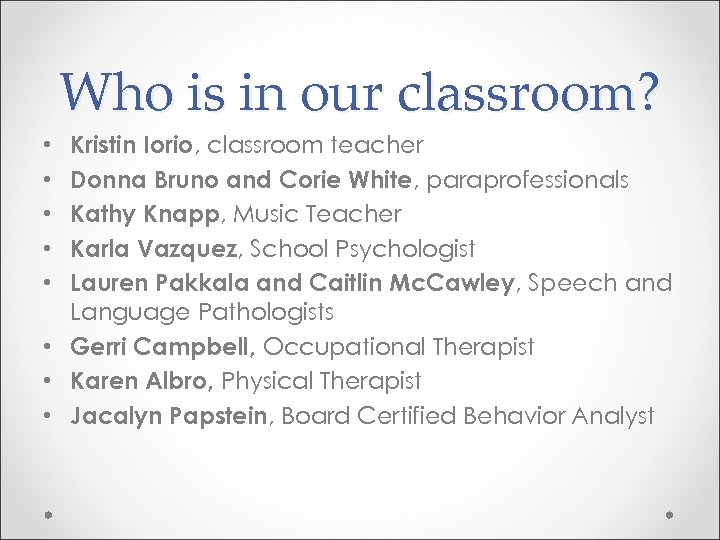 Who is in our classroom? Kristin Iorio, classroom teacher Donna Bruno and Corie White,