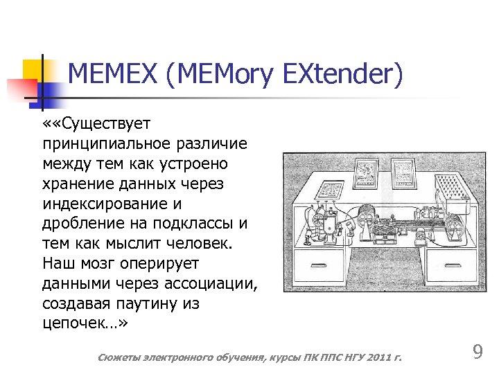 MEMEX (MEMory EXtender) « «Существует принципиальное различие между тем как устроено хранение данных через