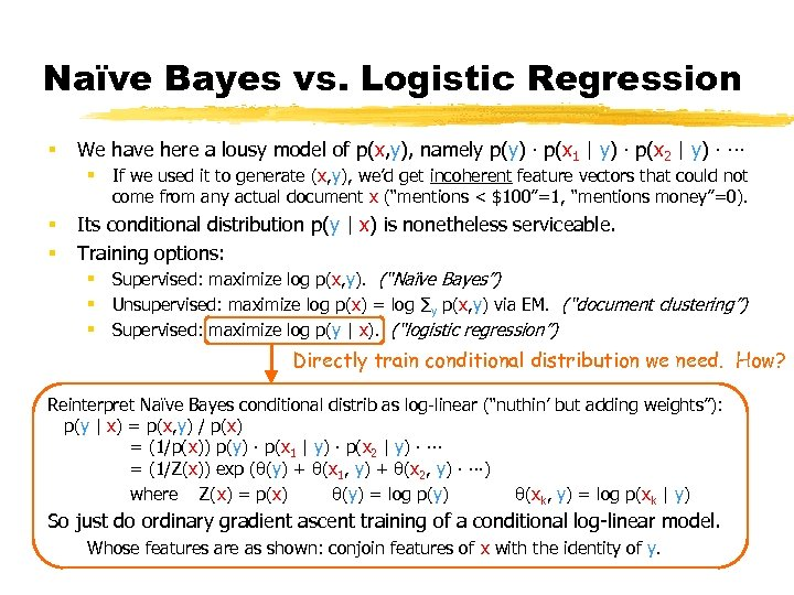 Naïve Bayes vs. Logistic Regression § We have here a lousy model of p(x,