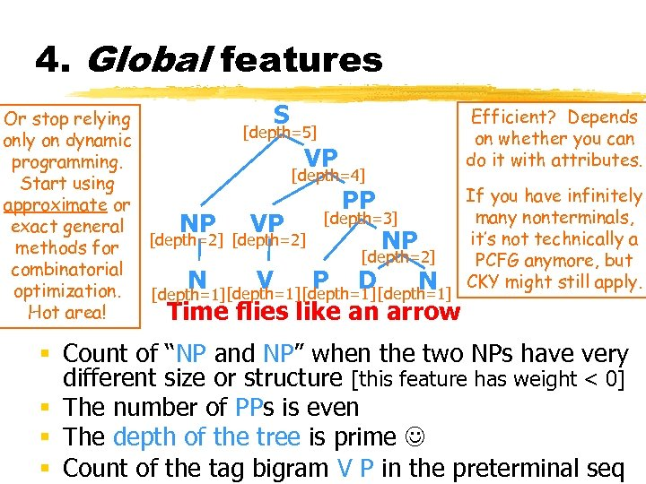 4. Global features Efficient? Depends S Or stop relying [depth=5] on whether you can