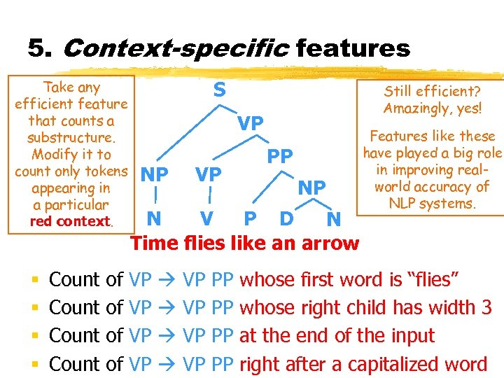 5. Context-specific features Take any efficient feature that counts a substructure. Modify it to