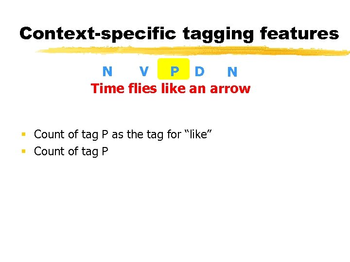 Context-specific tagging features N V P D N Time flies like an arrow §