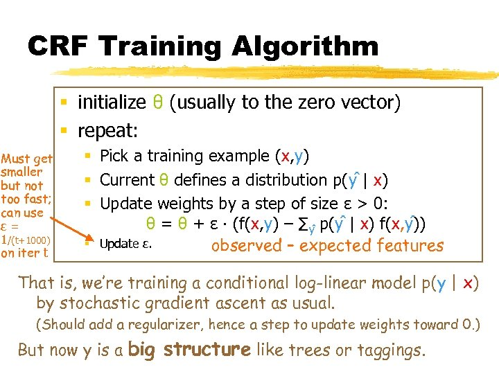 CRF Training Algorithm § initialize θ (usually to the zero vector) § repeat: Must