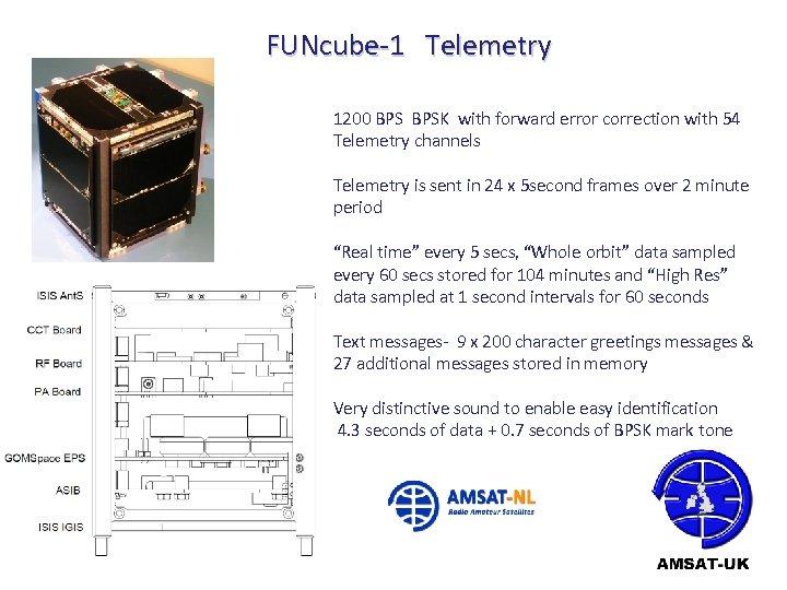 FUNcube-1 Telemetry 1200 BPSK with forward error correction with 54 Telemetry channels Telemetry is