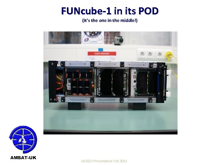 FUNcube-1 in its POD (it's the one in the middle!) 22/06/10 UKSEDS Presentation Feb