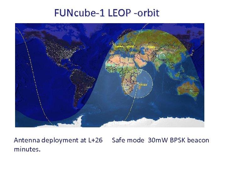 FUNcube-1 LEOP -orbit Antenna deployment at L+26 minutes. Safe mode 30 m. W BPSK