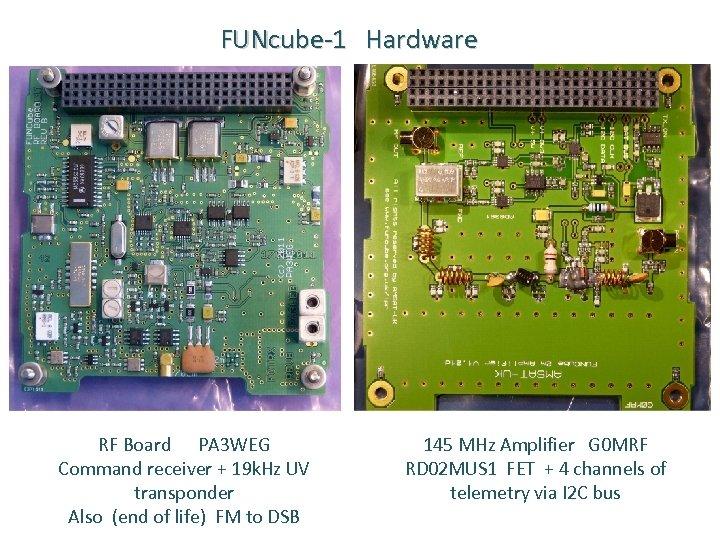 FUNcube-1 Hardware RF Board PA 3 WEG Command receiver + 19 k. Hz UV