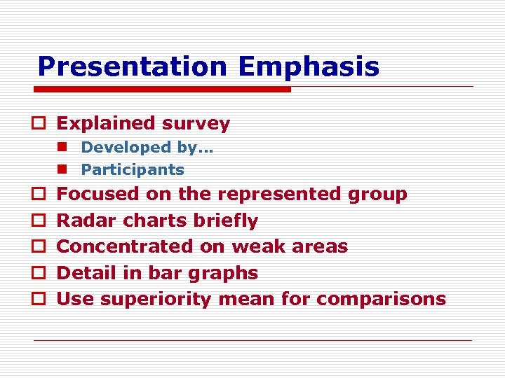 Presentation Emphasis o Explained survey n Developed by… n Participants o o o Focused