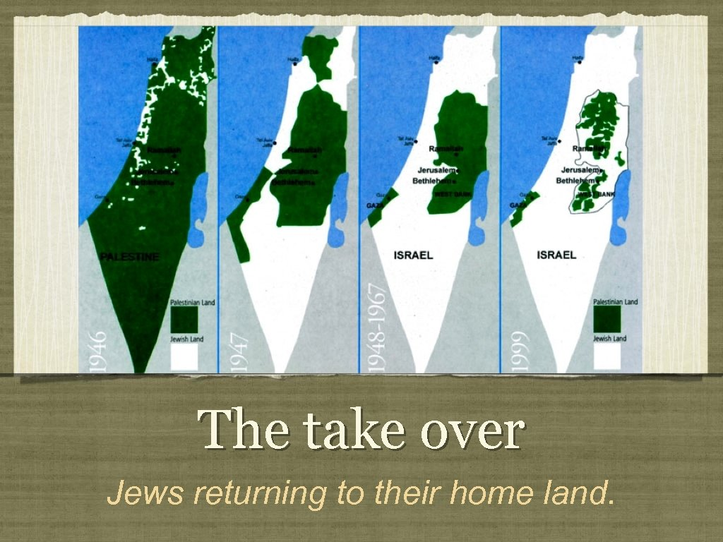 The take over Jews returning to their home land.