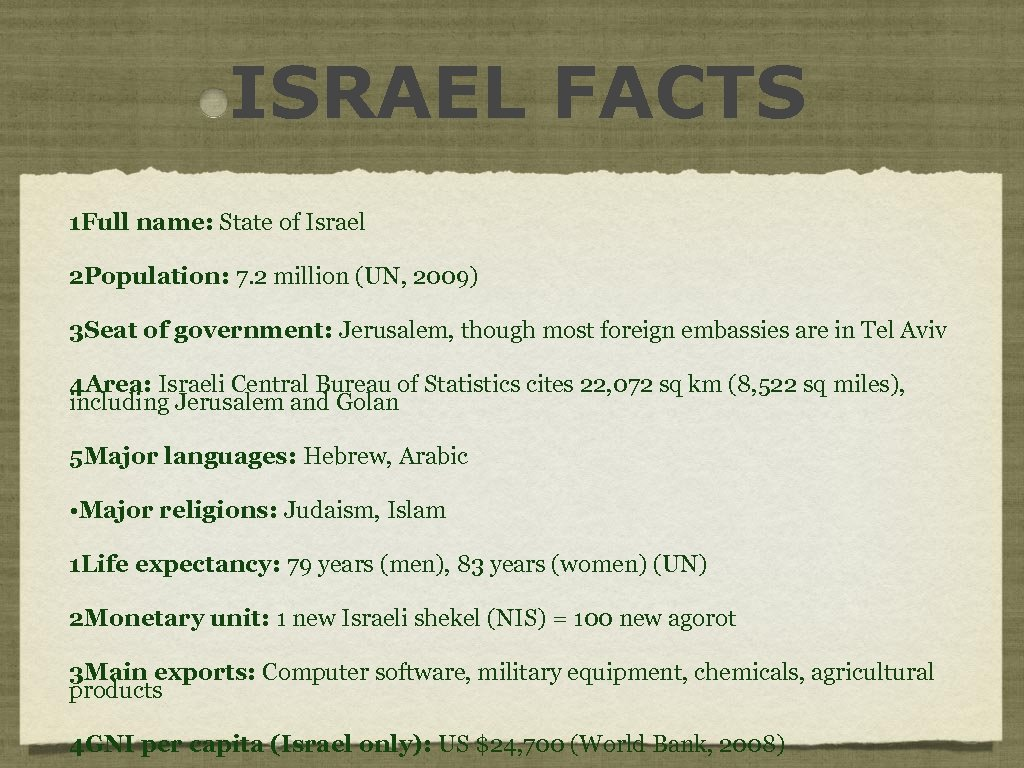 ISRAEL FACTS 1 Full name: State of Israel 2 Population: 7. 2 million (UN,