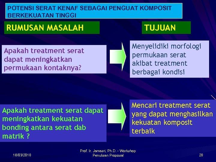 POTENSI SERAT KENAF SEBAGAI PENGUAT KOMPOSIT BERKEKUATAN TINGGI RUMUSAN MASALAH Apakah treatment serat dapat