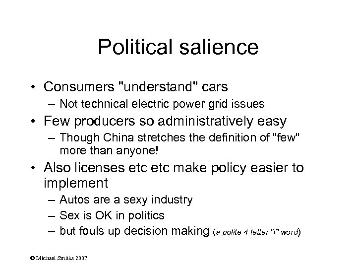 Political salience • Consumers