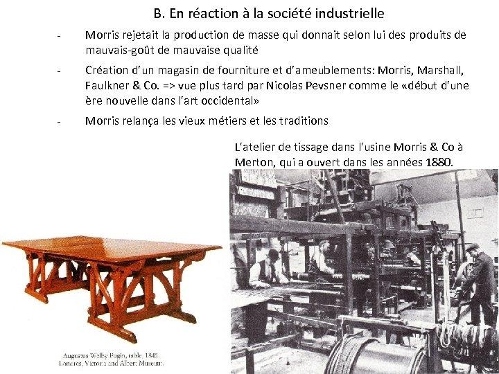B. En réaction à la société industrielle - Morris rejetait la production de masse