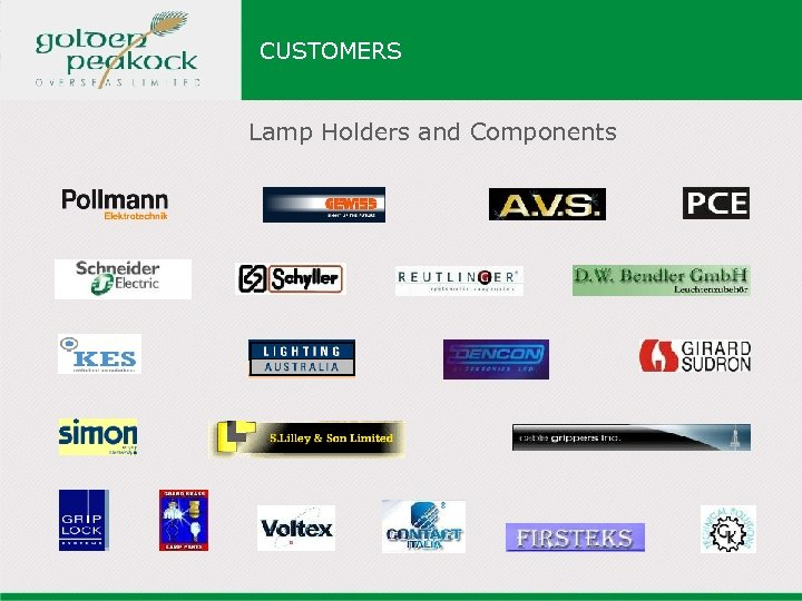 CUSTOMERS Lamp Holders and Components