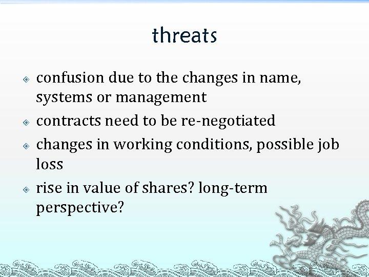 threats confusion due to the changes in name, systems or management contracts need to