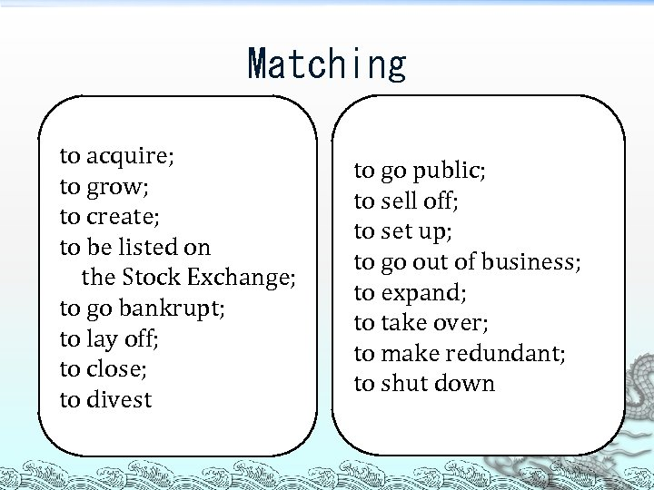 Matching to acquire; to grow; to create; to be listed on the Stock Exchange;