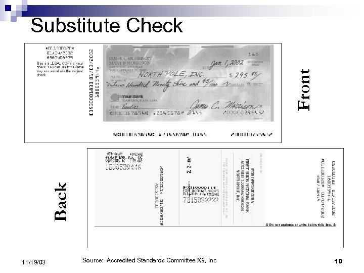 Back Front Substitute Check 11/19/03 Source: Accredited Standards Committee X 9, Inc 10